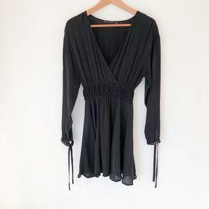 ZARA Black Faux Wrap Mini Dress Size M